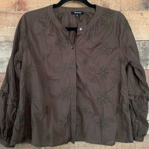 Madewell blouse brown dark olive color, size small
